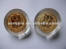 laser engraved acrylic paperweight with metal coin