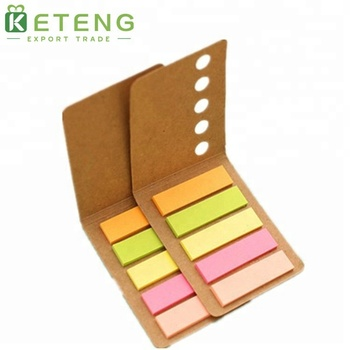 China high quality unique promotional assorted color recycled kraft cover sticky notes