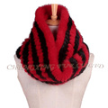 CX-S-170C Women Fashion High Quality Knitted Genuine Mink Fur Mexican Scarf