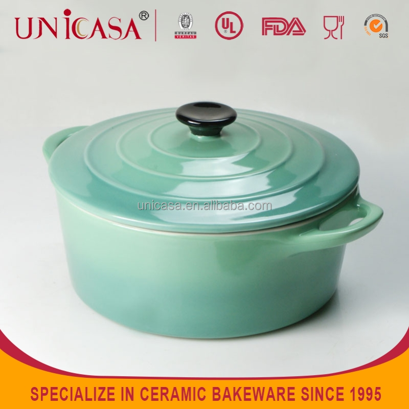 UNICASA Round Green Cocotte, ceramic Casseroles