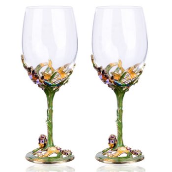 High quality Metallics decoration wine glass enamel lily red wine cup goblet in china