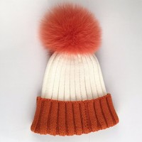 Myfur Customized Bi-Color Orange/White Real Fox Fur Bobble Soft Animal Fur Pom Cap