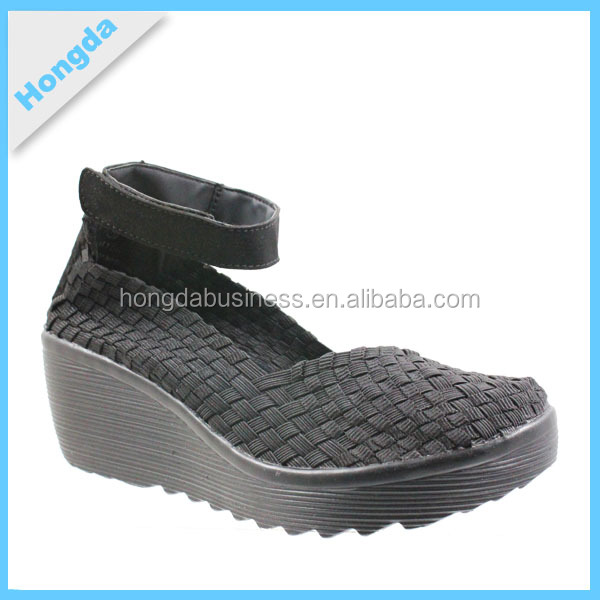 Wedge Woven shoes Band Sandal 2016 Fashion Adult Elegant Middle Heel Women Cover Hand Woven PU slip-on Casual sandal Shoes