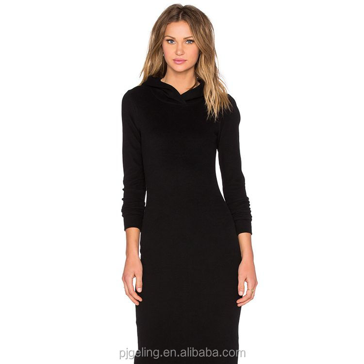 2017 trending products black split blank long sleeve t-shirt lady maxi dress