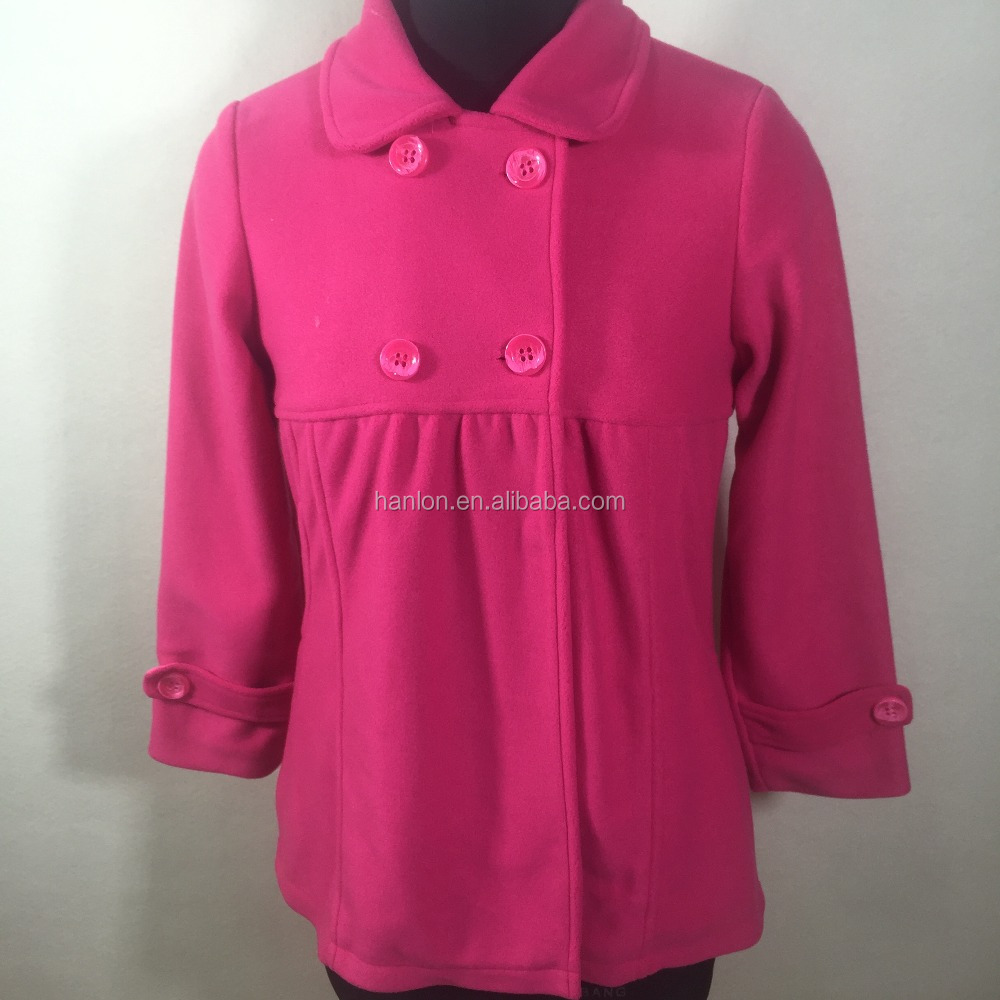 Polyester fleece fuchsia color three quarter sleeve small lapel baby-doll dress melton coat for girl