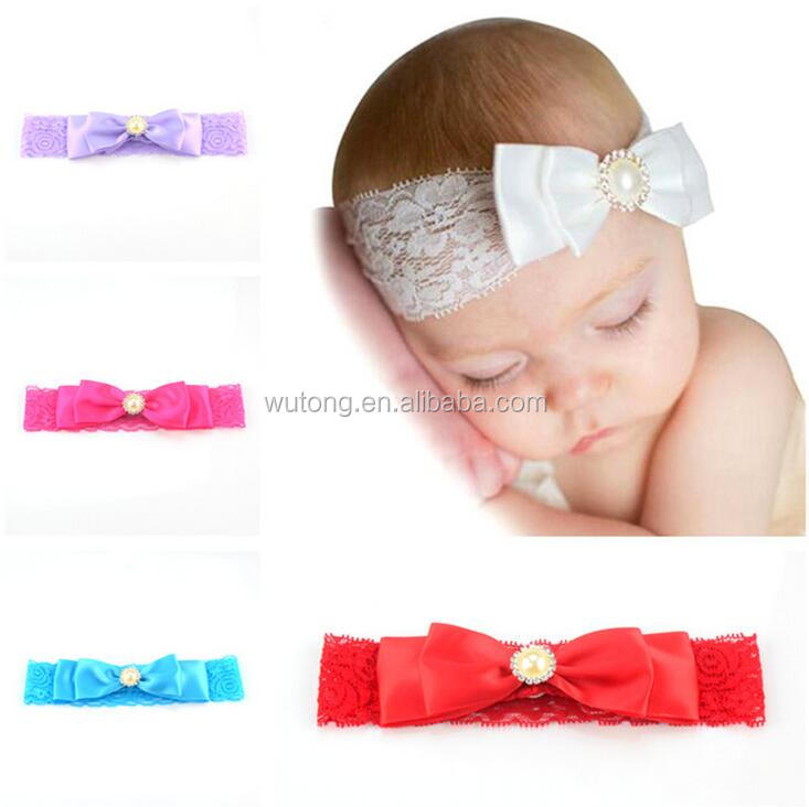 2017 new style baby girls boutique headbands pearl center rhinestone with bow decoration lace bands elastic hair accessories
