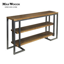 Industrial Style 3 Shelf Fir Wood Top With Iron Tube Legs Console Table