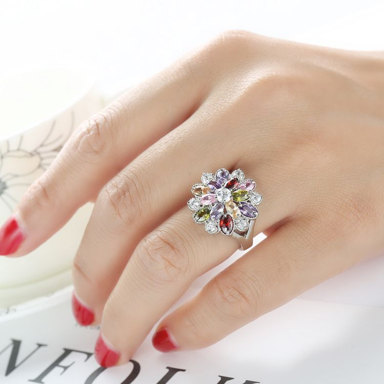 2017 Hot Sale Unique Fashion Jewelry Multicolor Flower Engagement Rings 925 Silver Plated Element Zircon Rings