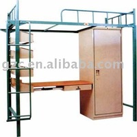 Single Multifunctional Iron Bed with Wardrobe