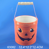 Hotsale Ceramic Handpainted Bucket with Handle for Halloween