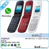 2014 Newest Mini 1.77inch Whatsapp dual sim 3 colors flip mobile phone H1272