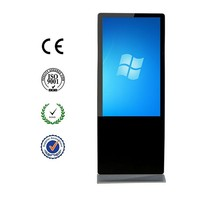 "55"" free standing digital signage, touch screen monitor price with HDMI VGA intel core CPU win7/8 system"