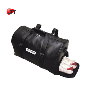 Mens Sports Duffel Gym Waterproof Leather Travel Bag With Sport Shoes Bag