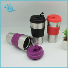 Good Quality 450ML Double Wall Stainless Isolated Coffee Mug with Anti-Slip Sleeve and Slant Lid