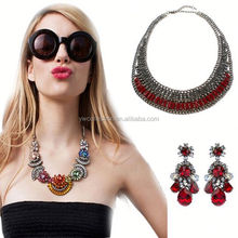 1 hour replied fashion statement necklace,earrings saudi gold jewelry,ruby beads necklace design