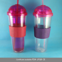 With silicone cover and round cap 24oz/680ml LFGB adult plastic tea mug