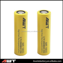 Hottest!!!High quality AWT 18650 2500mah 3.7v rechargeable battery 18650 battery makers for e cigarette