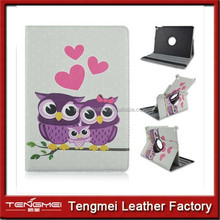 "Owl Family 9.7"" Rotatable Folding Leather Folio Smart Cover Case For iPad Air 2 pu leather case"