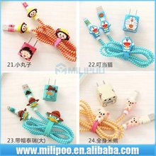 Promotion Gift Cell phone accessories Set Cartoon Cable Protector with USB Cable Winder with Charger Sticker