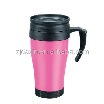 Plastic insulated coffee mugs with silicone grip,coffee mug grip stainless,double wall cup with grip