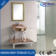 High quality floor standing stainless steel bathroom sink with mirror
