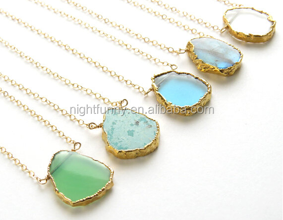Organic Shaped Slice in Gold vermeil  Simple Gemstone Jewelry Gold Edge Stone Layering Necklace Gemstone Slice Necklace