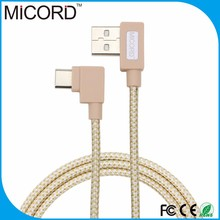 Hot selling good quality fabric braided 90 degree right angel usb 3.1 type c to 2.0 A male data charging cable