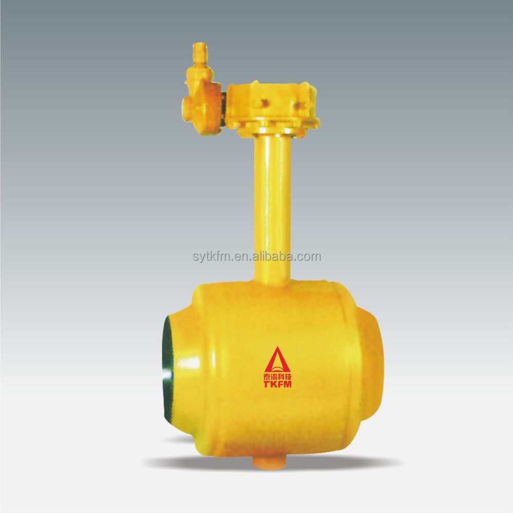 Medium pressure gas pipeline used ss304 floting ball buried directly worm gear fully welded ball valves