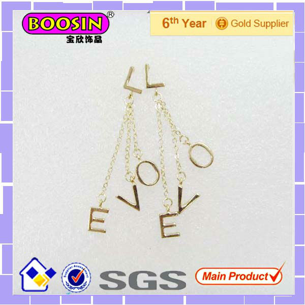 Luxury Gold LOVE Initial Chain Earring #21357