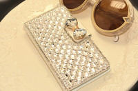 Luxury bling diamond bowknot Silk print stick drill wallet flip leather case cover for samsung galaxy s6