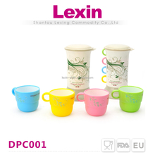 double wall custom printed plastic drinking cup with handle