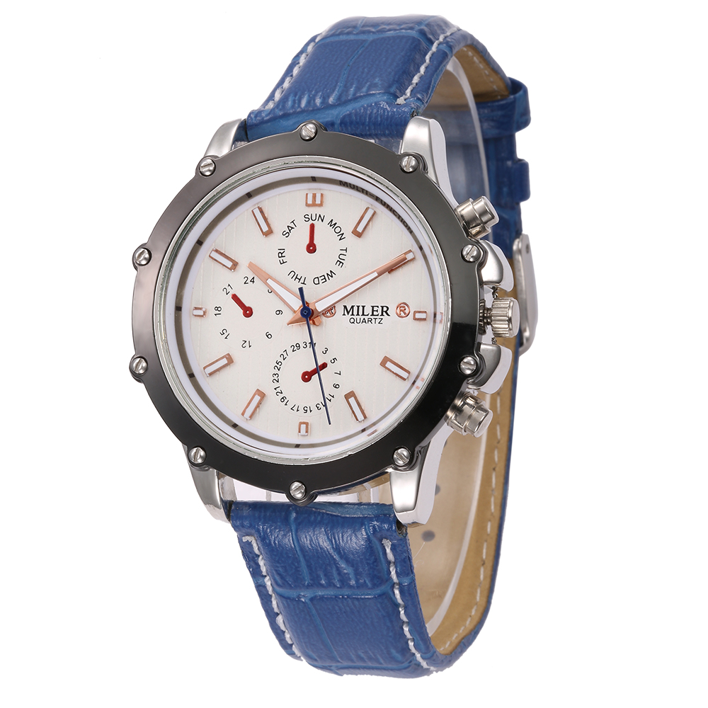 Miler 8276 Hot Selling Leather Strap Quartz Analog Aolloy Case 24 Day Hour Watch Cheap Price Elegent Fashion Women Watch