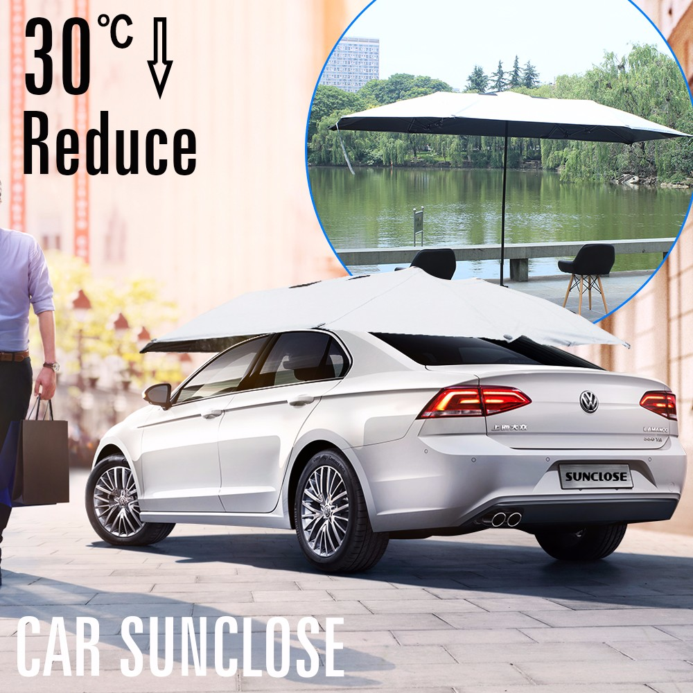 SUNCLOSE Factory auto folding car covers sun protection window shades 3 foldable auto open&close umbrella