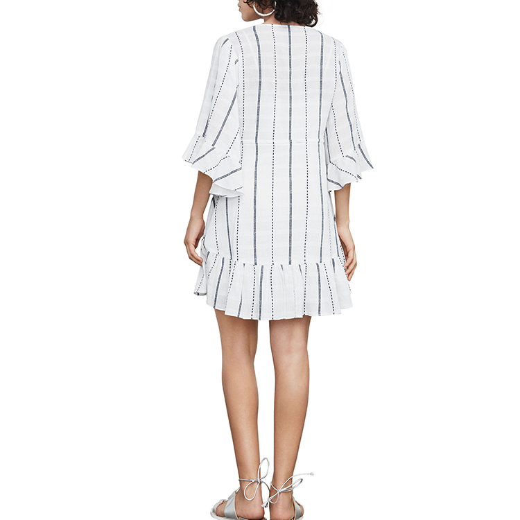 New 100% Cotton 3/4 Sleeve V-neck Grey Stripe Loose Shift Casual Dress Wholesale