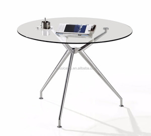 Aluminum round dining table with glass table top