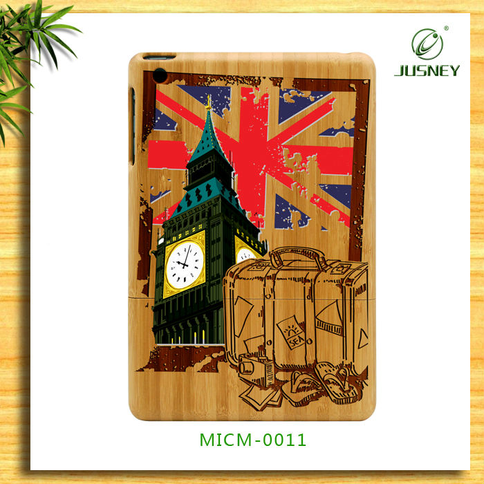 new for ipad mini bamboo case with UK London Big Ben print