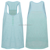 New designer ladies knit plain dyed sky blue color sleeveless loose fashion women tank top wholesale