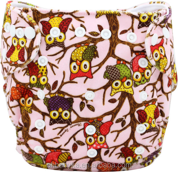 ohbabyka night owl pattern reusable baby Cloth Diapers factory direct sale