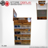 Cardboard flashlight Display Stand Custom Pop Display Stands For Electrical Equipment