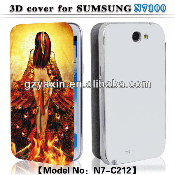Fashion case galaxy note 2 n7100,3D leather phone case for Samsung galaxy note2