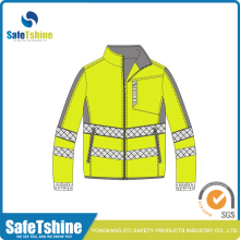 Customized unisex breathable fluorescent safety 100% polyester soft shell jacket