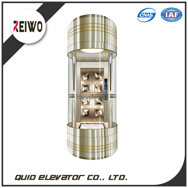 LED light sightseeing observation panoramic elevator lift with construction sketch