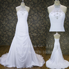 Top quality new design ruffles sleeveless wedding dresses with beading