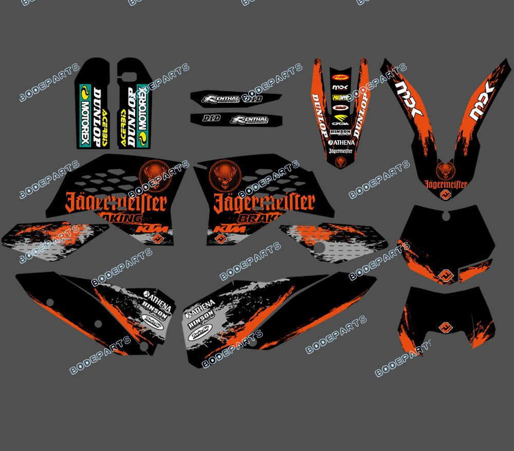 DST0311 TEAM GRAPHICS FOR 2007 2008 2009 2010 KTM SX SXF FULL SIZE MODELS AND 2008-2011 EXC XC FULL SIZE MODELS