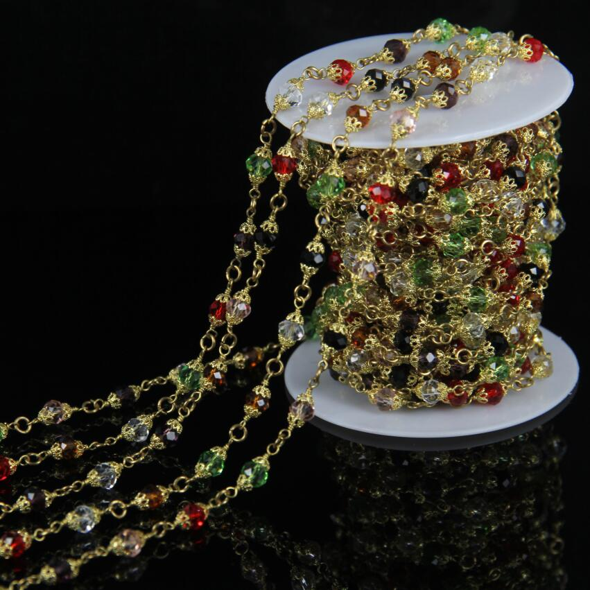 AM-YLS015 Natural Rainbow Rondelle Glass Bead Rosary Chain,Plated Gold Wire Wrapped Chain Necklace Making Fashion Jewelry