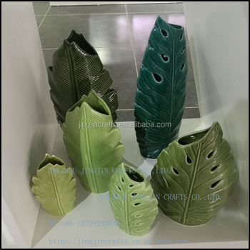leaf shape green ceramic vase