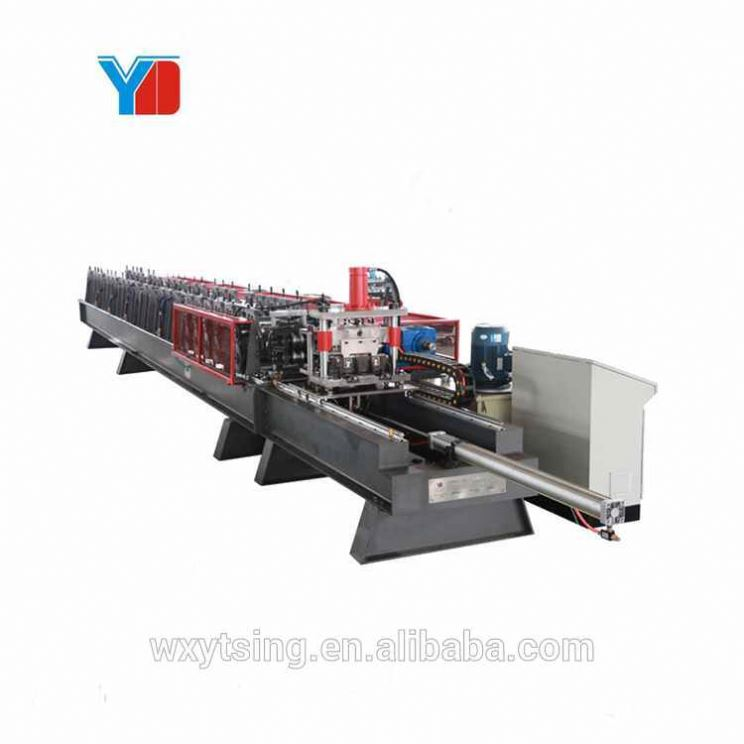 Passed CE and ISO Double Row <strong>Steel</strong> <strong>C</strong> Rack Channel Solar Stand Column Production Rollformer Roll Forming Machine
