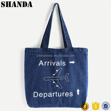 Hot Sale Design your logo Image Print Denim Tote Shopping Bag