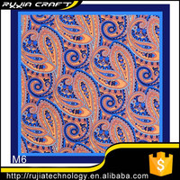 "Good Seller New 10"" 100% Polyester Pocket Square Men's Handkerchief Orange Blue Paisley"