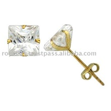 Gold Stud Cz Earrings